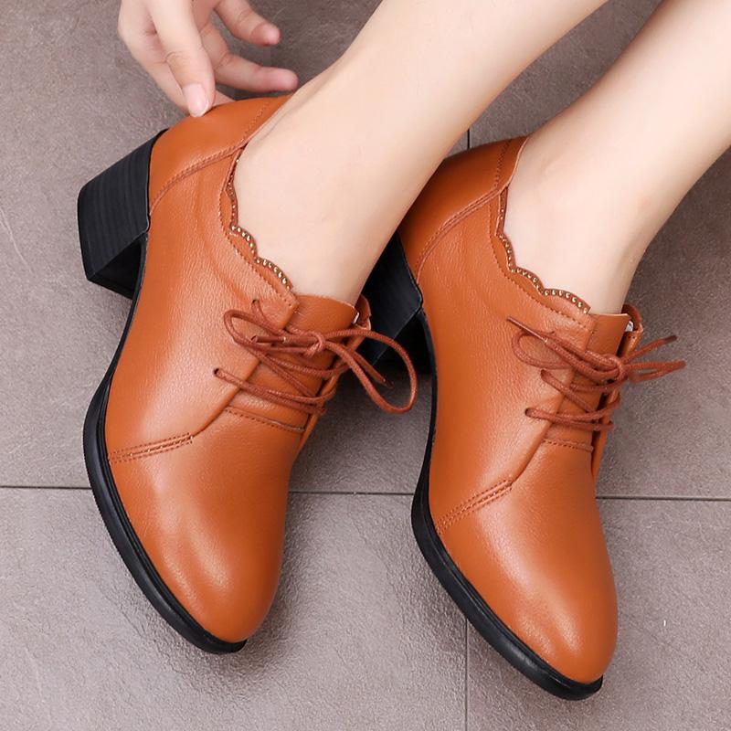 2019新款妈妈鞋春秋时尚粗跟真皮鞋中跟中年女鞋四季鞋子百搭单鞋