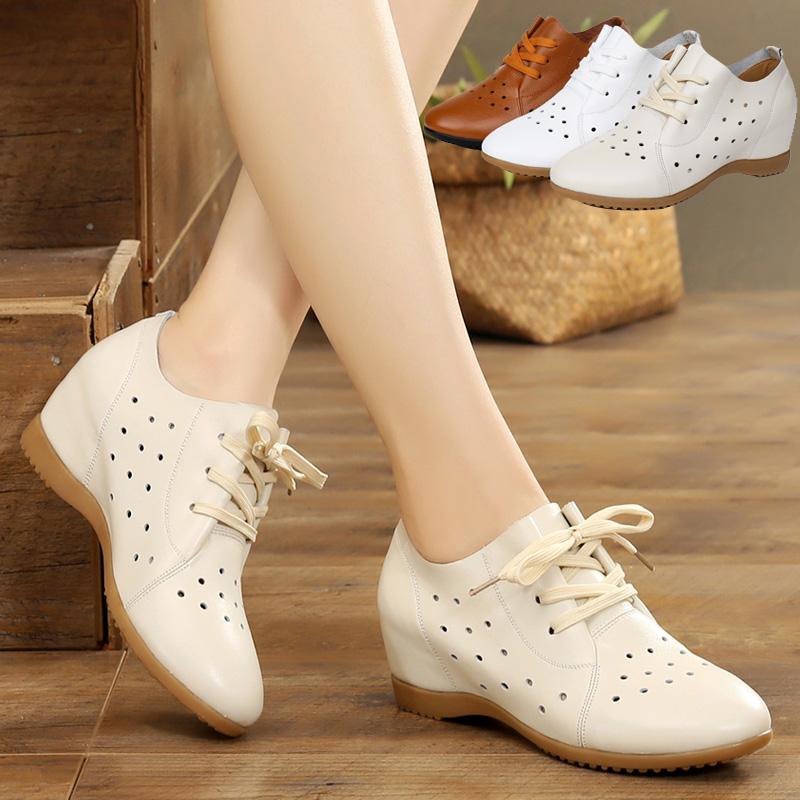 夏季内增高女鞋子2020新款小白鞋透气镂空真皮鞋百搭坡跟休闲单鞋