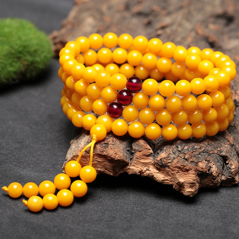Pure natural Baltic old honey wax hand string 108 Buddha beads chicken oil yellow mens and womens original stone amber matching certificate
