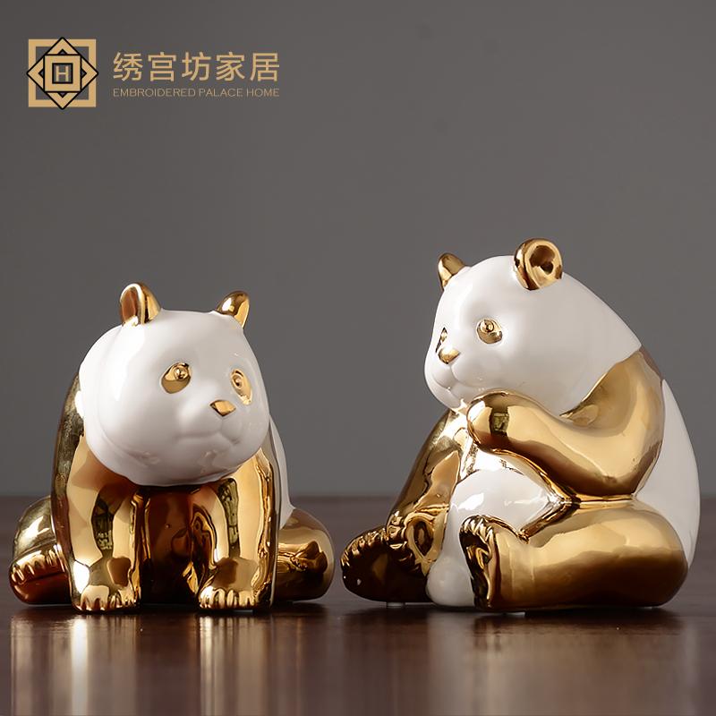 现代简约轻奢金色叠猫猫桌面摆件客厅可爱房电视柜创意装饰品摆设