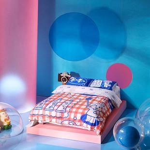 【富山商店】爱吹泡泡的小狗泡泡系列插画纯棉床单款被套四件套