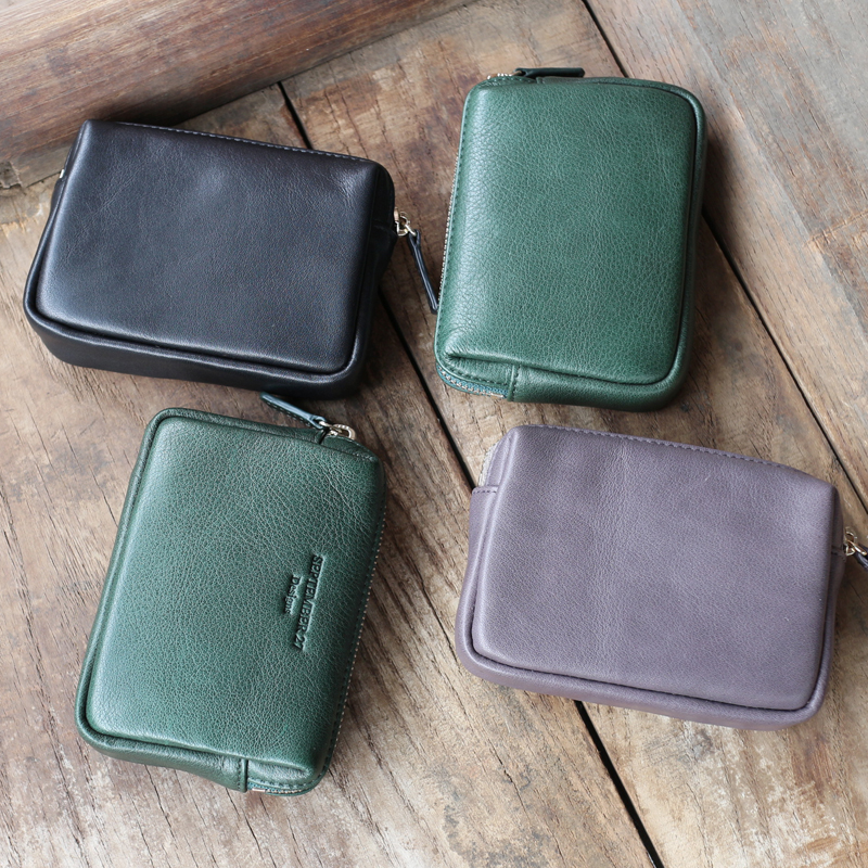 Leather head leather three-dimensional belt clip Pocket Wallet short zipper mens and womens hand bag make-up bag mail
