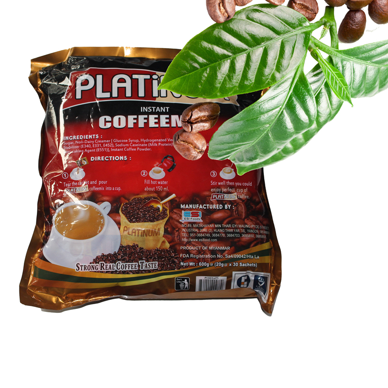 Platinum Myanmar three in one instant coffee new hot water drink strong mellow 60g 2 packs free of mail
