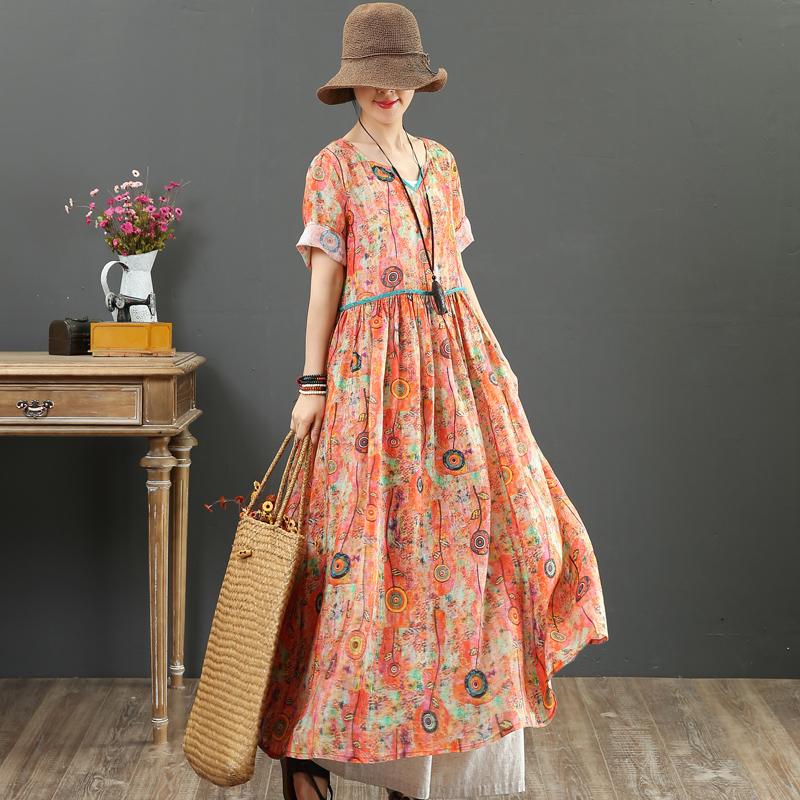 九月卡卡 高端精细纯苎麻 数码印花 X型大摆长裙短袖连衣裙9100