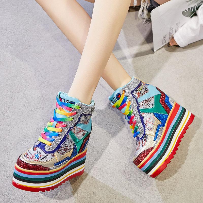 Женские ботинки на платформе / Высокие кроссовки Артикул 603071198787