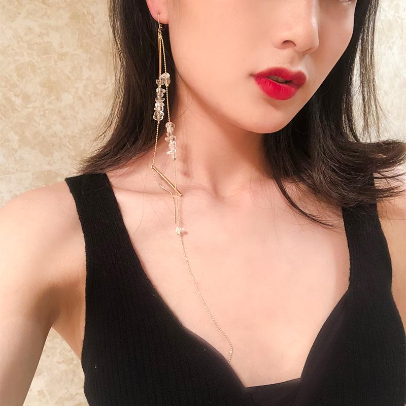 2019新款韩国气质单只流苏耳链女长款耳坠耳钉耳环网红耳线耳饰潮