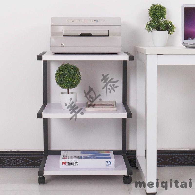东方益友现代简易钢木移动储物置物架家用三层打印机架微波炉架子