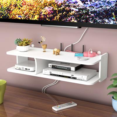 客厅电视机顶盒架墙上置物架路由器收纳盒壁挂卧室装饰隔板免打孔