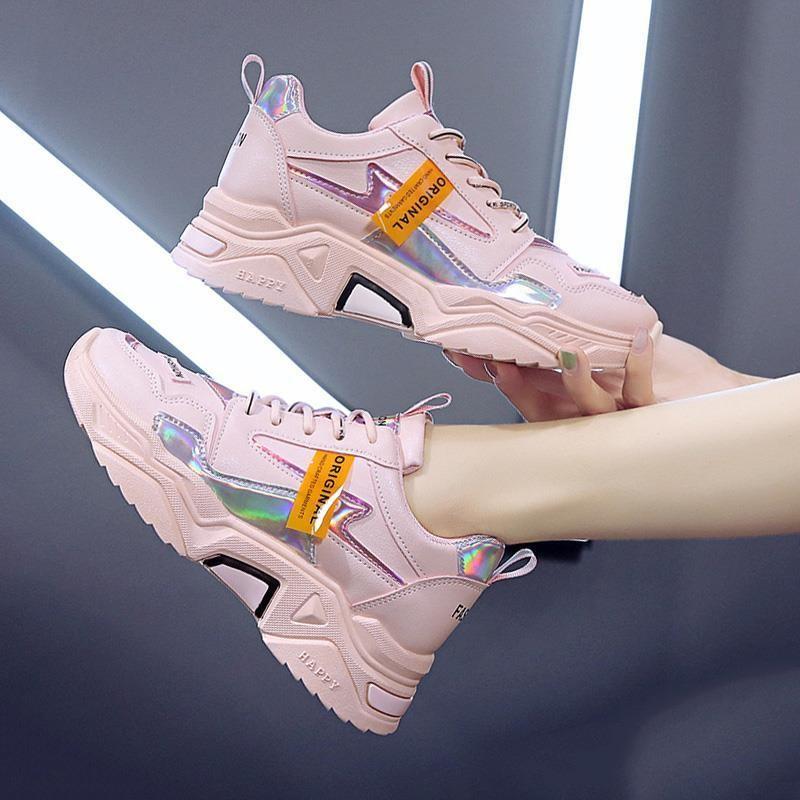 粉色运动鞋女ins网红百搭潮鞋2020夏季新款厚底个性秋季老爹鞋子