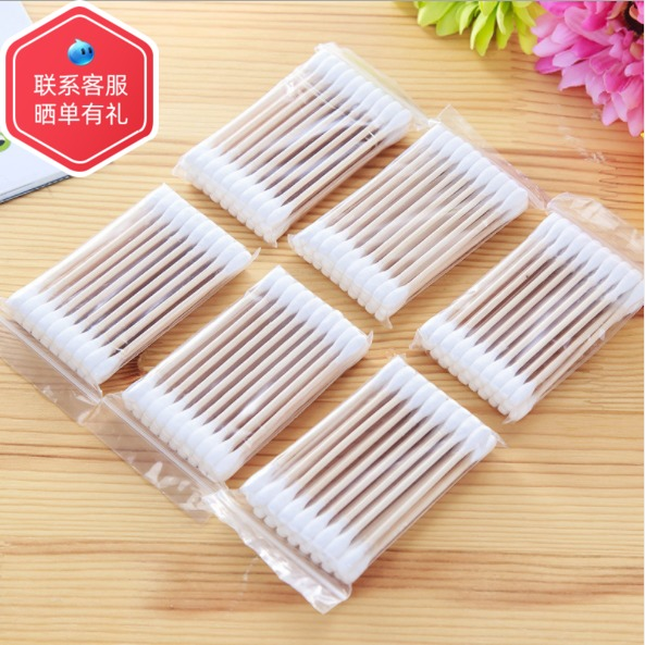 Disposable cotton swab double headed wooden stick cotton swab cotton swab ear tampon baseball makeup remover cotton swab