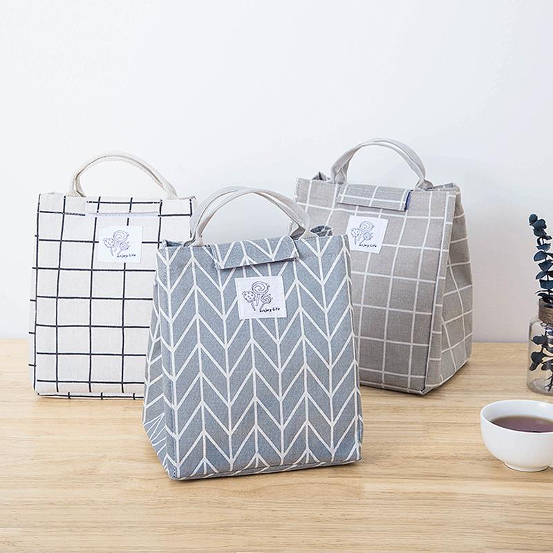 饭盒袋便当手提包带饭手提袋防水铝箔加厚韩版清新上班保温手拎包