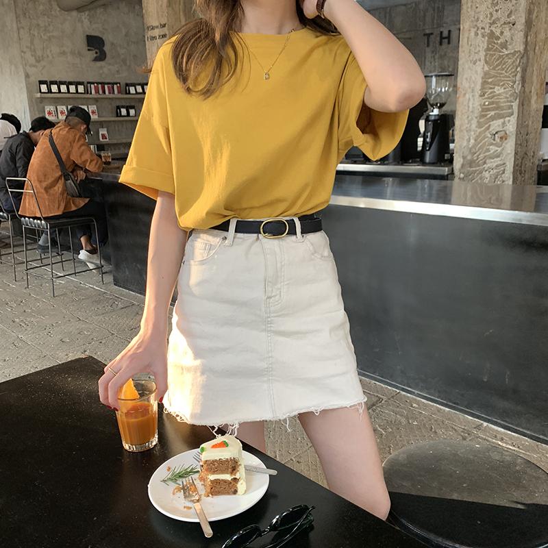 小个子夏装穿搭芒果黄纯棉t恤女2020年新款韩版宽松短袖圆领上衣