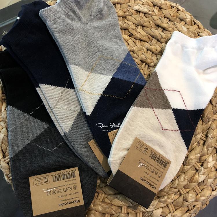 韩国进口男士袜子经典彩色菱格纹短袜 矮帮袜低帮袜棉袜运动时尚