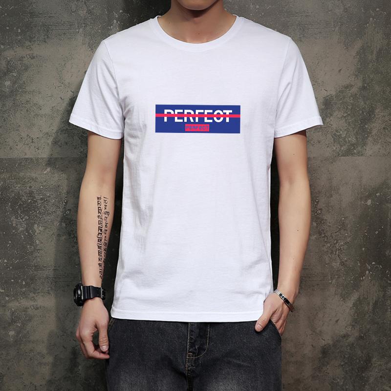 纯棉 20夏季日系潮流字母印花圆领宽松休闲男士短袖体恤T01P15