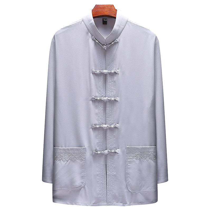 春季亚麻衬衫男长袖棉麻寸衫立领休闲中国风衬衣唐装外套D1850P70