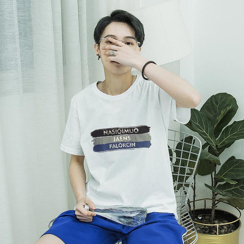 20夏季港风青少年字母印花短袖T恤男纯棉圆领半袖打底衫T19P15