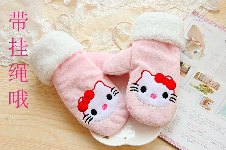 韩范冬季保暖手套  刺绣KT加厚保暖全包全指舒棉绒手套 可挂脖式