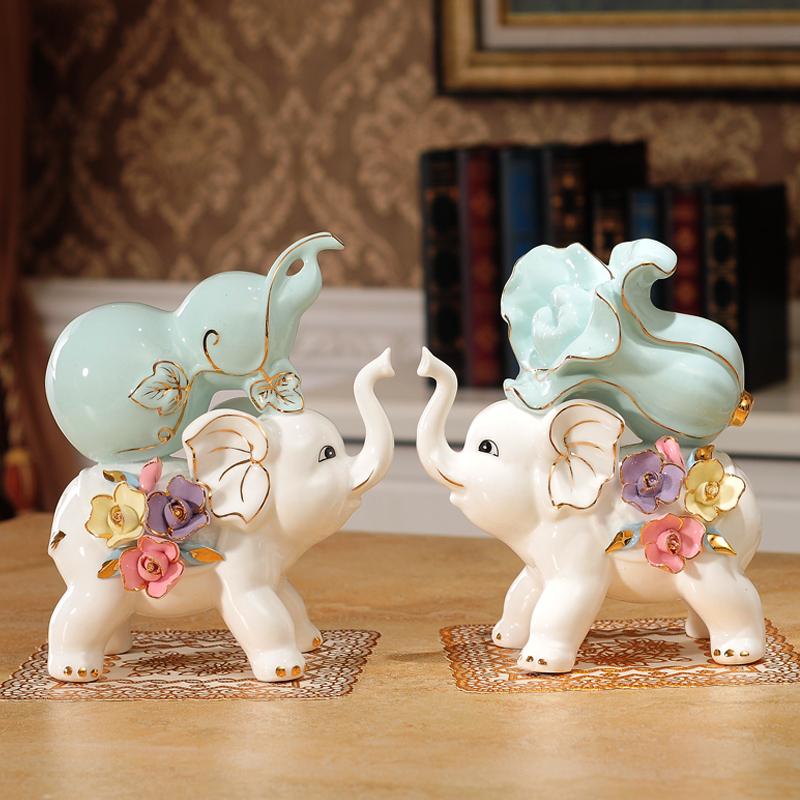 葫芦大象摆件创意陶瓷客厅电视柜酒柜开业招财装饰品乔迁新居礼品