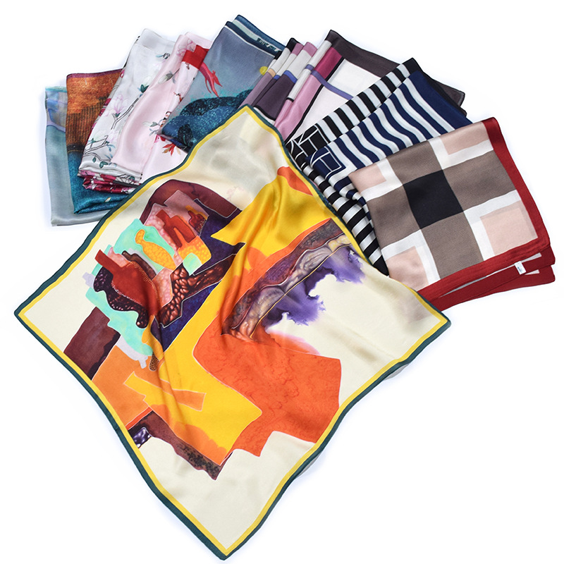 New silk small square scarf womens 100% mulberry silk scarf Plaid stripe color painting versatile stewardess professional scarf