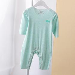 莫代尔宝宝连体衣无痕婴儿薄款长袖爬爬服新生儿婴幼儿睡衣春秋夏