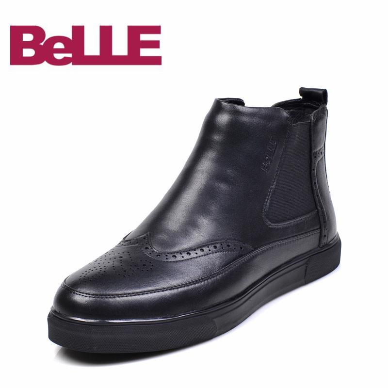 Belle/百丽男鞋套筒个性加绒保暖流行男士切尔西雕花美式经典款靴