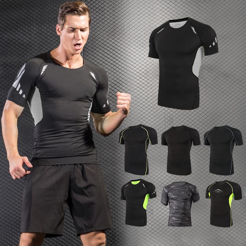 健身服男pro 緊身衣短袖跑步籃球速幹訓練服高彈健身衣上衣薄