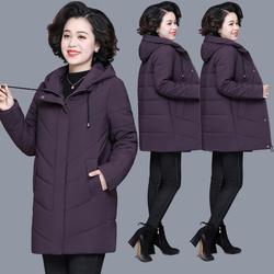 妈妈冬装棉袄外套阔太太洋气高贵中长款大码羽绒棉服中老年棉衣女