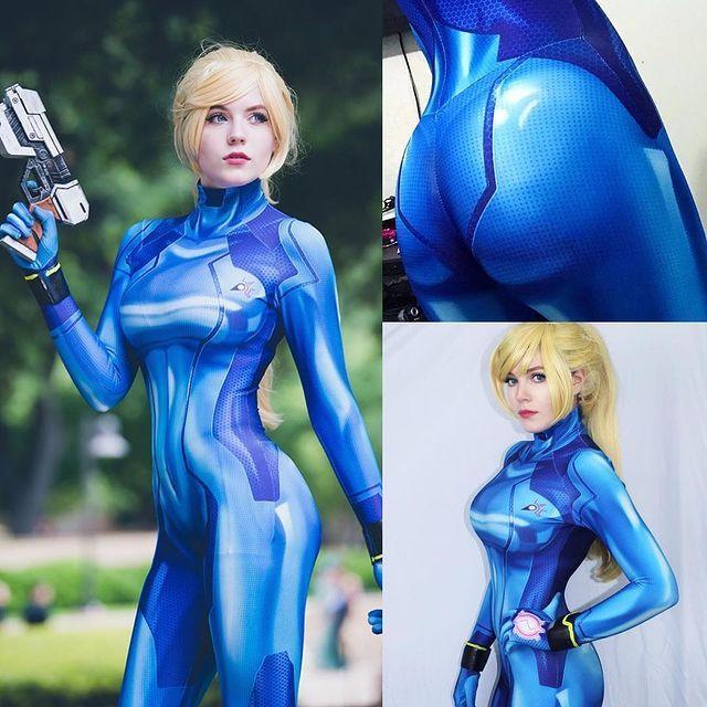 万圣节女款角色扮演Samus Zero Cosplay 蓝色银河战士连体紧身衣