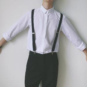 陈智文男士弹力吊裤带背带男女黑色学生裤子松紧扣防滑百搭夹子潮
