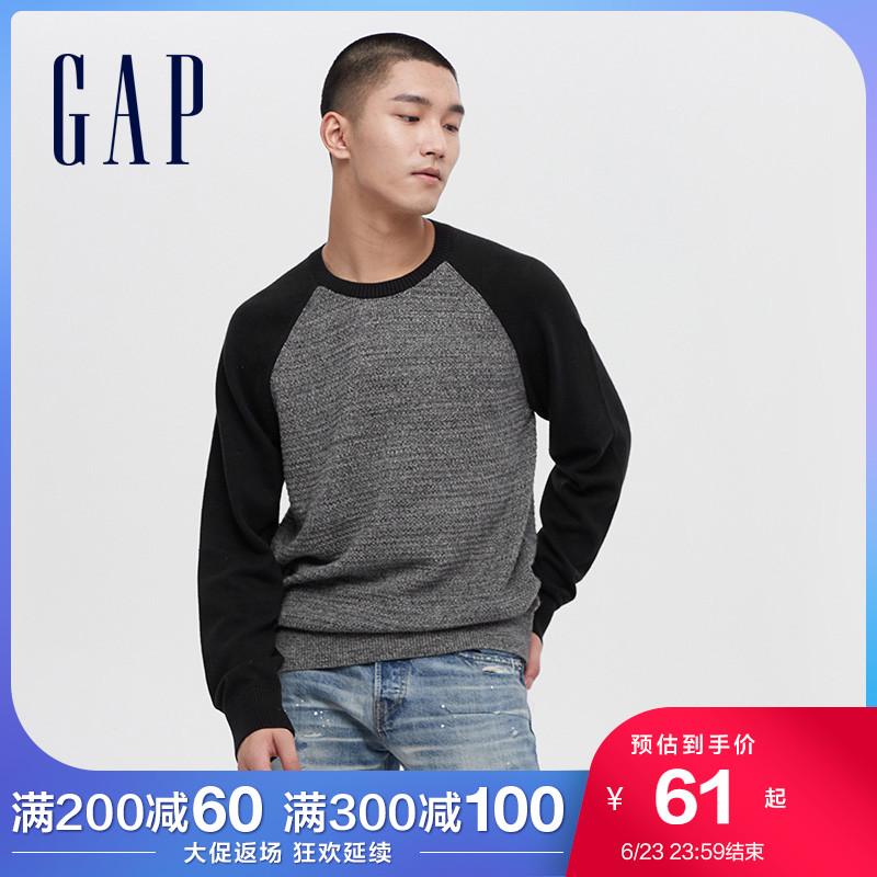 Gap男装撞色圆领针织衫595038春季新款休闲宽松毛衣男