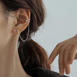 【巷南】925纯银十字不对称耳钉个性耳夹冷淡风耳线2020新款潮