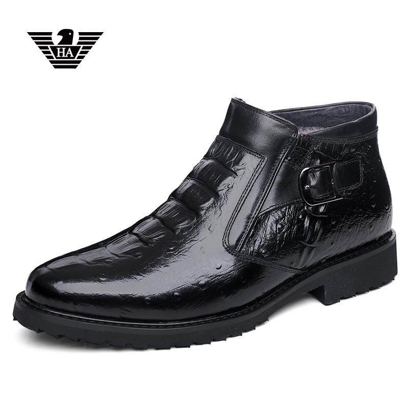 意大利鳄鱼纹男鞋棉鞋男冬季加绒保暖搭扣高帮皮鞋真皮休闲雪地靴
