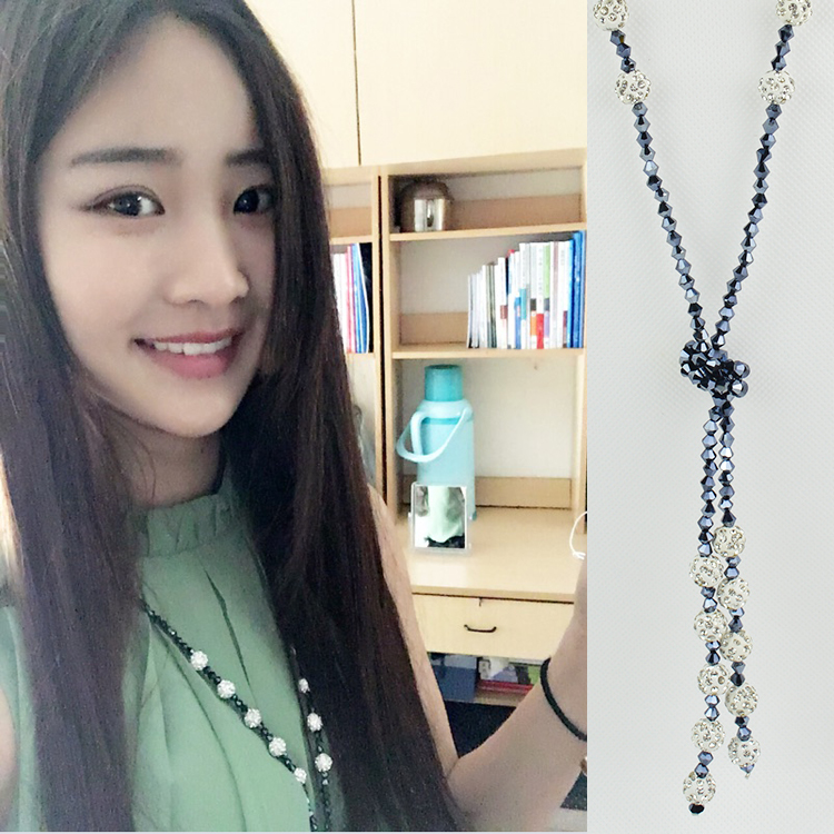 Summer diamond ball sweater chain long Korean versatile multi-layer Necklace personality atmosphere crystal beads sweater chain autumn and winter