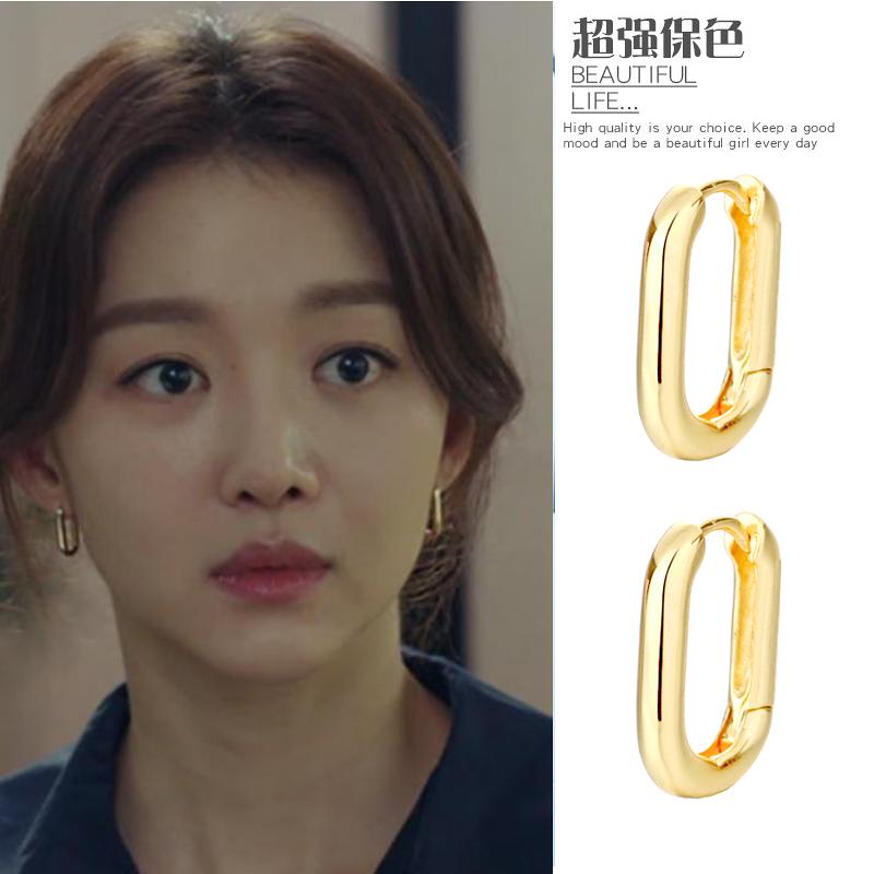 925纯银小众U型椭圆耳圈男女简约冷淡风复古圆圈耳扣时尚法式耳环