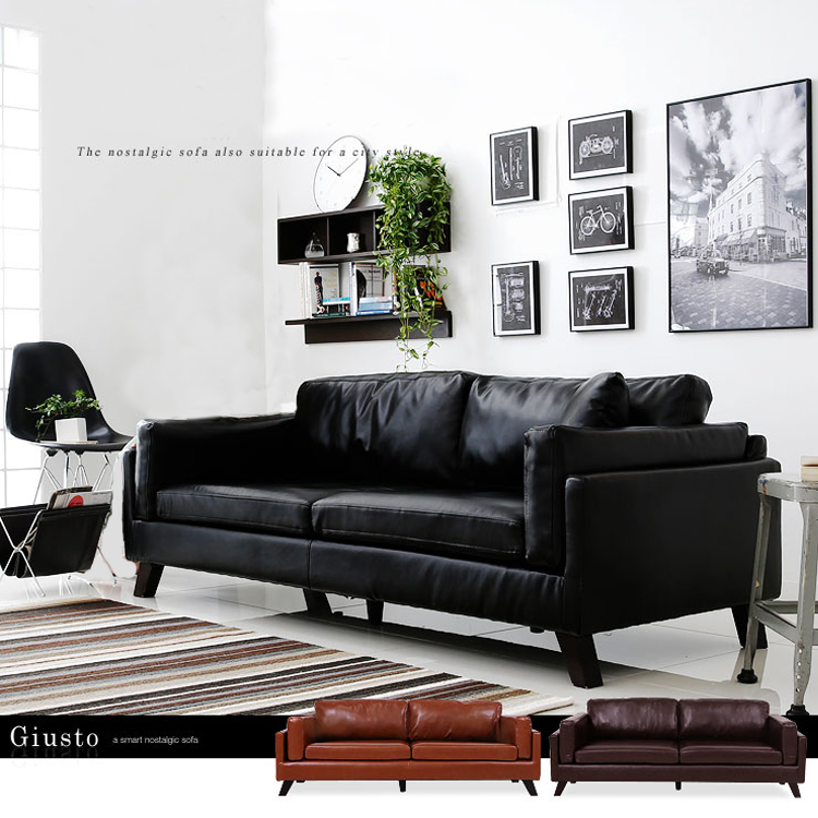 Nordic small family leather sofa Japanese modern simple living room single double triple Cafe office sofa furniture