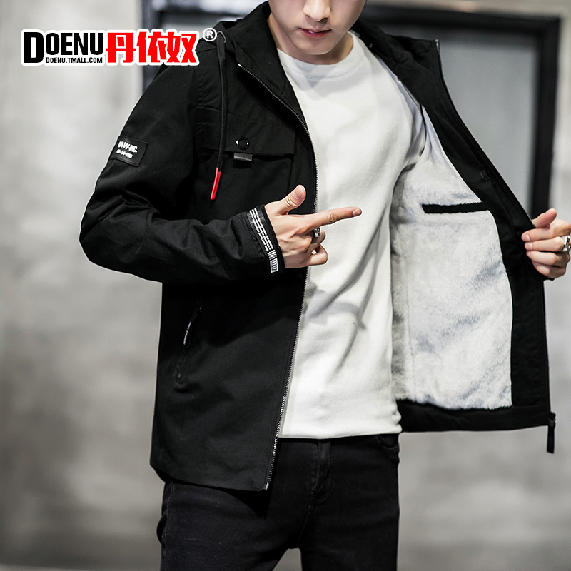秋冬季ifashion外套ins超火的学院风加绒加厚男士帅气工装夹克潮