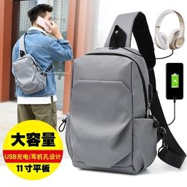 新款男士胸包大容量单肩斜挎包休闲学生背包11寸平板IPAD韩版潮包
