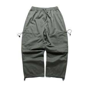 抽繩寬鬆bf直筒闊腿工裝褲男大口袋港風束腳休閒墜感直筒中性褲子