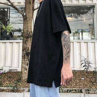 纯色短袖 体恤 夏季 纯棉百搭宽松落肩打底衫 经典 t恤男ins简约半袖