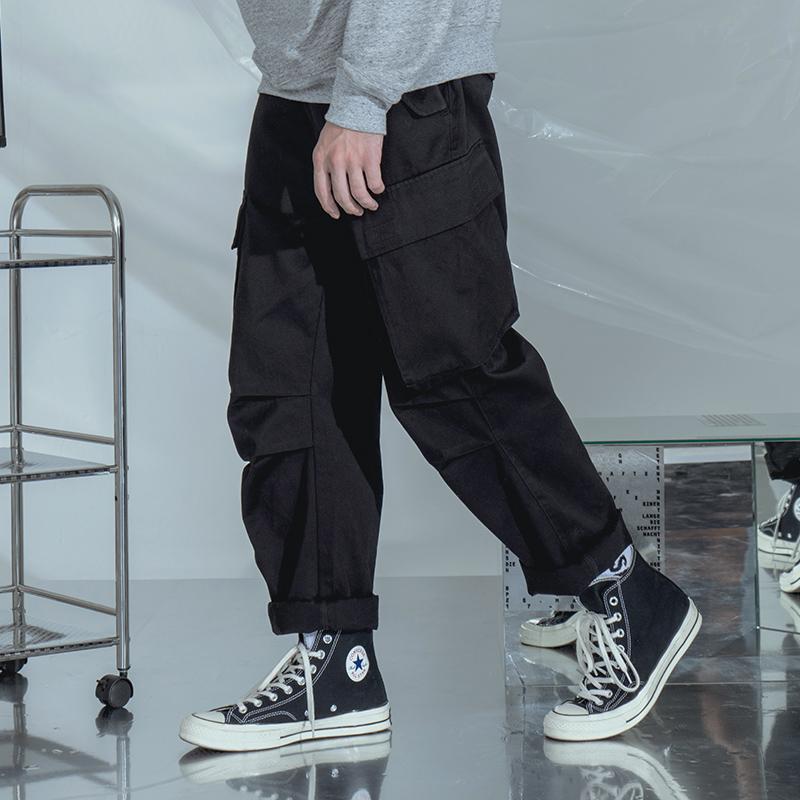 NOTHOMME日系潮牌复古直筒黑色工装裤男士宽松多口袋美式休闲裤子