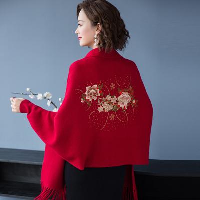 披肩女秋冬绣花喜婆婆结婚妈妈配旗袍的外搭斗篷披风加厚毛衣外套