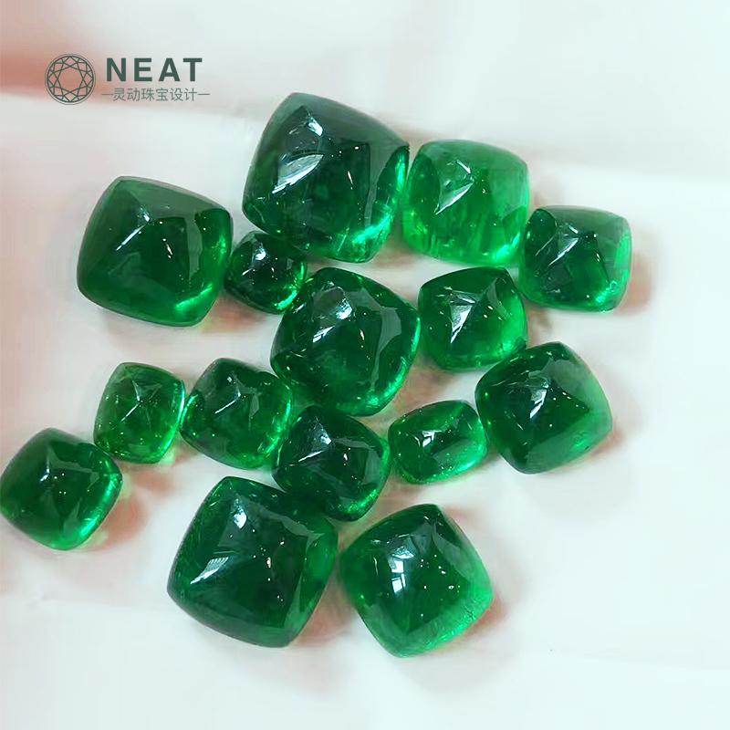 NEAT灵动珠宝swat哥伦比亚祖母绿糖塔裸石素面镶嵌钻石戒指吊坠 Изображение 1