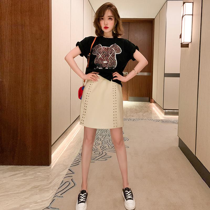 MIUCO双面丝光棉短袖圆领烫钻T恤+A字PU半裙套装女2020春装新款 thumbnail
