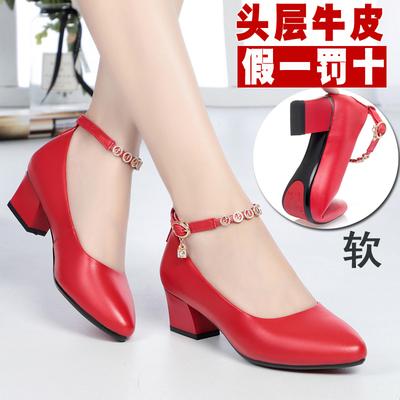 红鞋夏女式皮鞋平底浅口单鞋中跟真皮软底高跟妈妈跳舞鞋红色女鞋