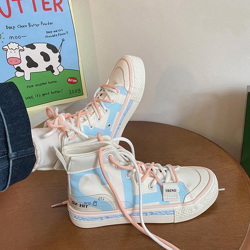 2021年新款高帮字母印花韩版百搭学生休闲板鞋帆布鞋情侣小白潮鞋