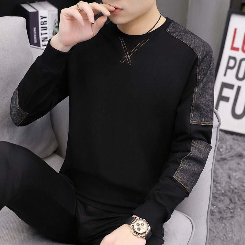 Sweater men's autumn and winter models men's 2021 new fashion ins plus velvet thick top clothes long-sleeved t-shirt men's spring