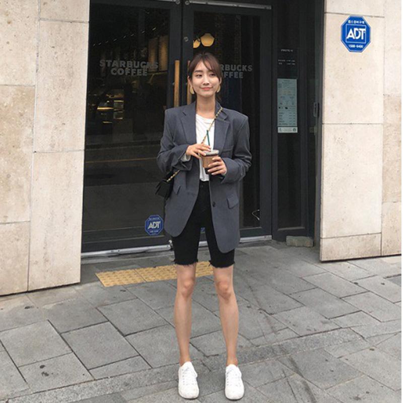 黑色牛仔短裤女夏季薄款网红高腰韩版弹力紧身显瘦骑行中裤五分裤