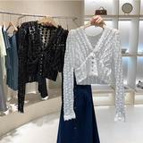 2020早秋心机v领蕾丝上衣外穿百搭温柔风短款设计感小众白衬衫女