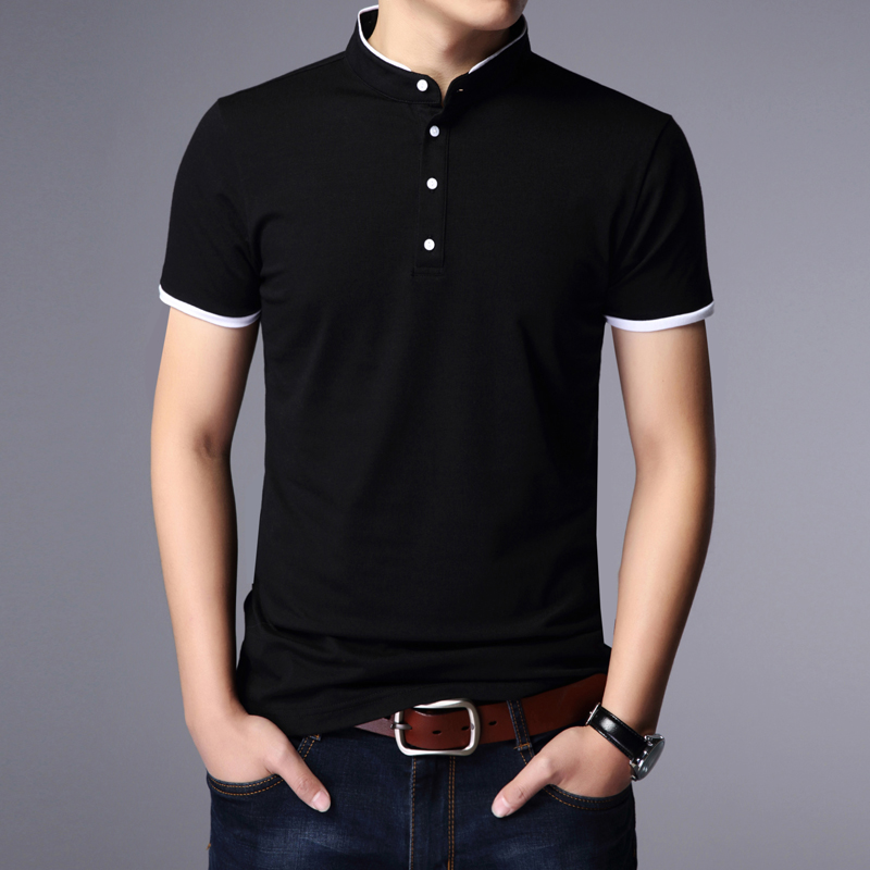 Oversize short sleeve t-shirt mens loose business casual top summer mens Half Sleeve Polo Shirt Youth pure cotton thin