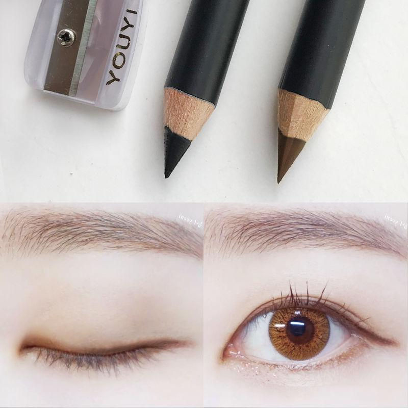 Carbon core hard head two installed Brown + Black Eyeliner Waterproof, sweat proof, non decolorizing, durable pseudo pigment pencil type.